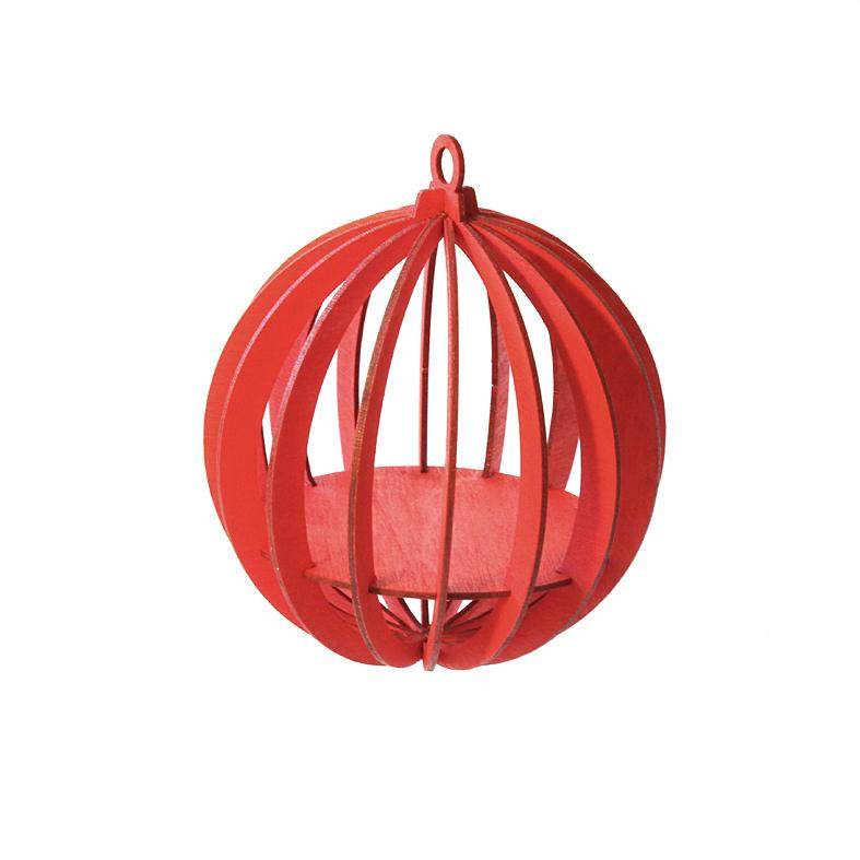 Baumbehang 3D Kugel rot 16L